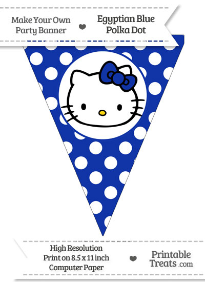 Egyptian Blue Polka Dot Pennant Flag with Hello Kitty from PrintableTreats.com