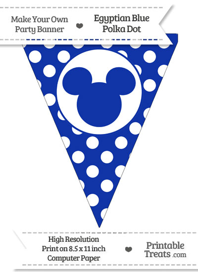 Egyptian Blue Polka Dot Pennant Flag with Mickey Mouse from PrintableTreats.com