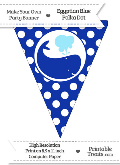 Egyptian Blue Polka Dot Pennant Flag with Whale Facing Right from PrintableTreats.com
