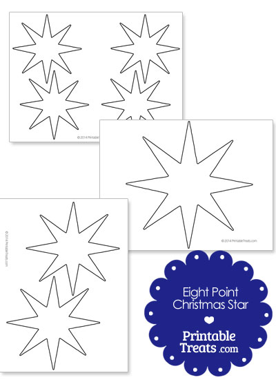 Eight Point Christmas Star Template from PrintableTreats.com