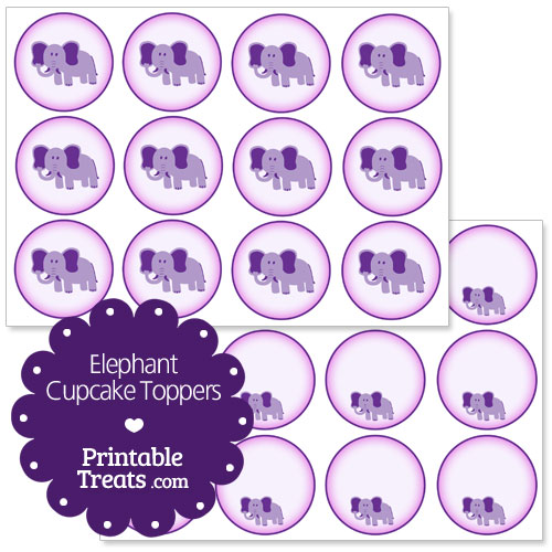 printable elephant cupcake toppers