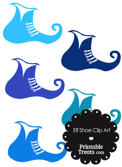 Elf Shoe Clipart in Shades of Blue from PrintableTreats.com