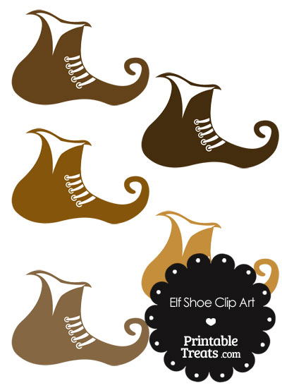 Elf Shoe Clipart in Shades of Brown from PrintableTreats.com