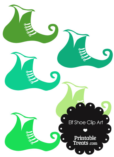 Elf Shoe Clipart in Shades of Green from PrintableTreats.com