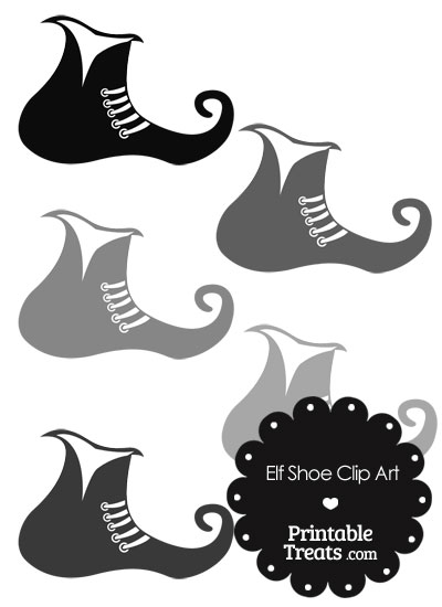 Elf Shoe Clipart in Shades of Grey from PrintableTreats.com