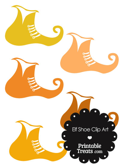 Elf Shoe Clipart in Shades of Orange from PrintableTreats.com