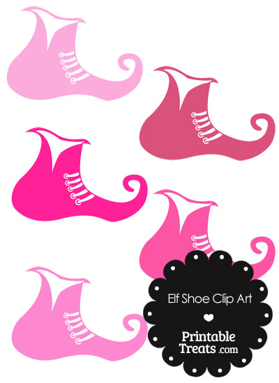 Elf Shoe Clipart in Shades of Pink from PrintableTreats.com