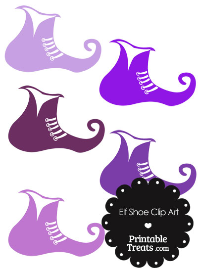 Elf Shoe Clipart in Shades of Purple from PrintableTreats.com