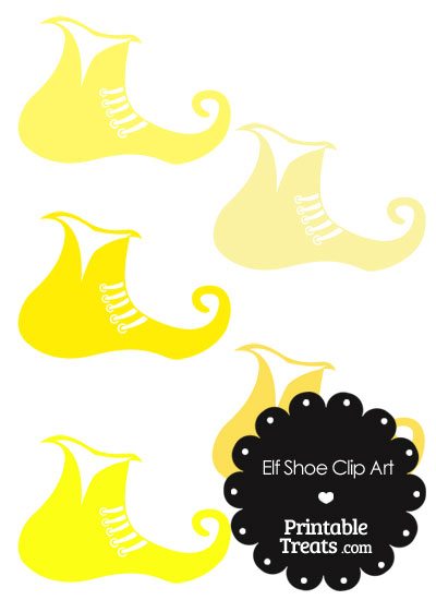 Elf Shoe Clipart in Shades of Yellow from PrintableTreats.com