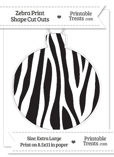Extra Large Zebra Print Christmas Ornament Cut Out from PrintableTreats.com