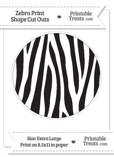 Extra Large Zebra Print Circle Cut Out from PrintableTreats.com