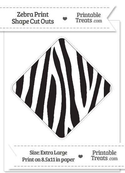 Extra Large Zebra Print Diamond Cut Out from PrintableTreats.com