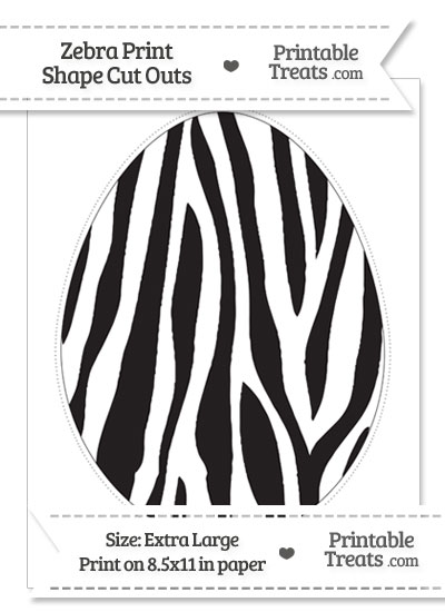 Extra Large Zebra Print Easter Egg Cut Out from PrintableTreats.com