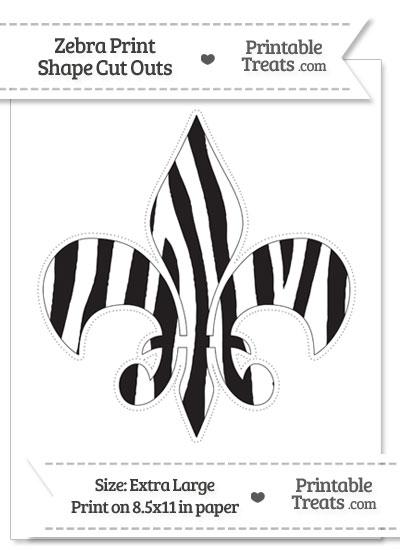 Extra Large Zebra Print Fleur de Lis Cut Out from PrintableTreats.com
