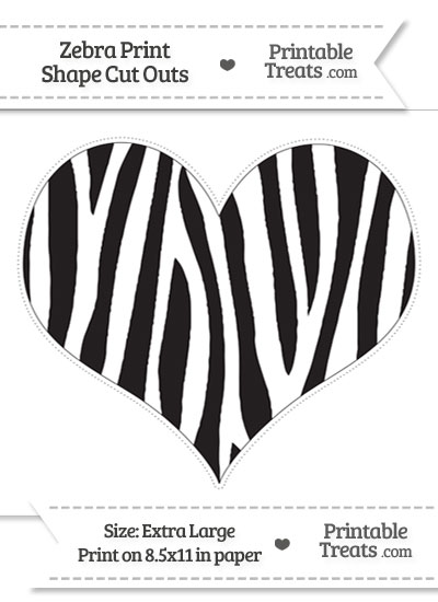 Extra Large Zebra Print Heart Cut Out from PrintableTreats.com