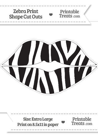 Extra Large Zebra Print Lips Cut Out from PrintableTreats.com