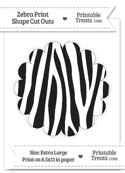 Extra Large Zebra Print Scalloped Circle Cut Out from PrintableTreats.com