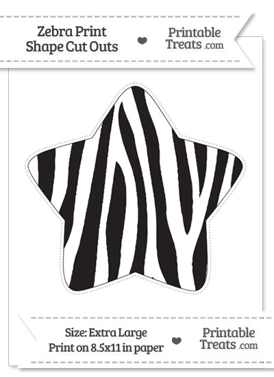 Extra Large Zebra Print Star Cut Out from PrintableTreats.com
