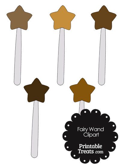 Fairy Wand Clipart in Shades of Brown from PrintableTreats.com