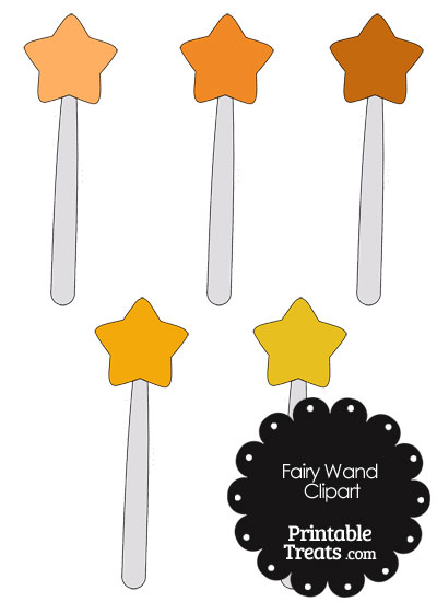 Fairy Wand Clipart in Shades of Orange from PrintableTreats.com
