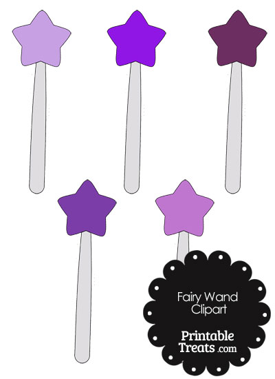 Fairy Wand Clipart in Shades of Purple from PrintableTreats.com