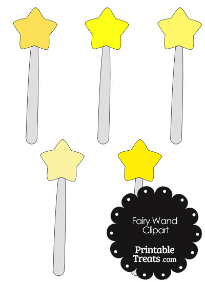 Fairy Wand Clipart in Shades of Yellow from PrintableTreats.com