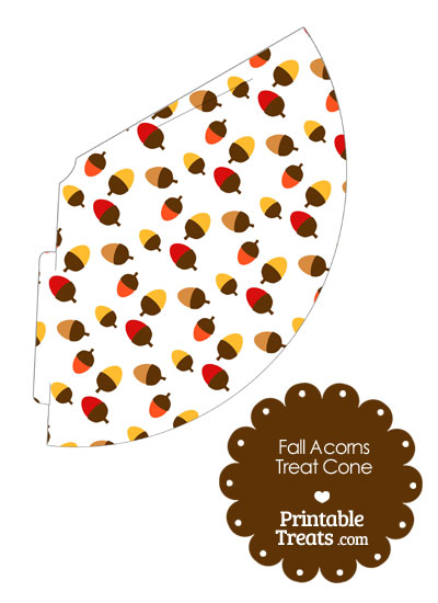 Fall Acorns Printable Treat Cone from PrintableTreats.com