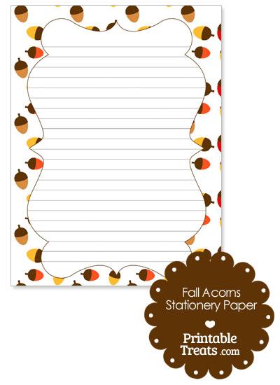 Fall Acorns Stationery Paper from PrintableTreats.com
