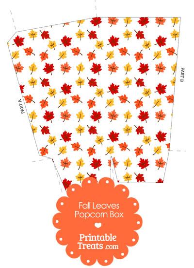 Fall Leaves Popcorn Box from PrintableTreats.com