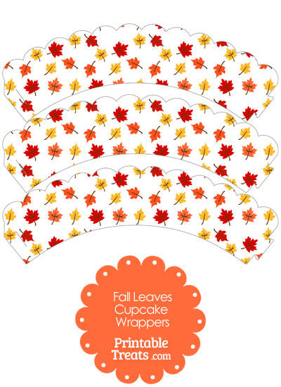 Fall Leaves Scalloped Cupcake Wrappers from PrintableTreats.com