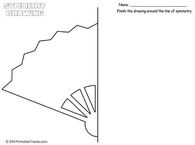 fan symmetry drawing worksheet