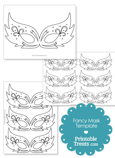 Fancy Feathery Masquerade Mask Template from PrintableTreats.com