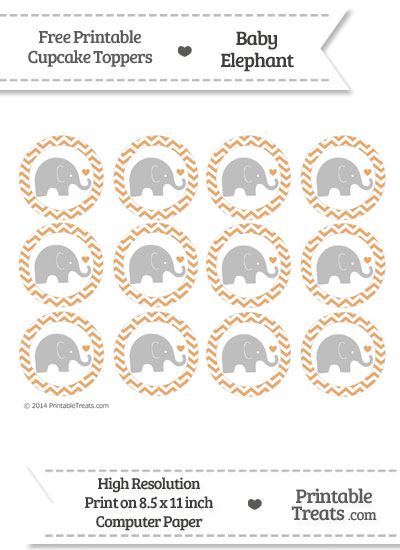 Fawn Chevron Baby Elephant Cupcake Toppers from PrintableTreats.com