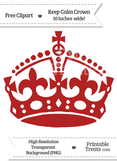 Fire Brick Red Keep Calm Crown Clipart from PrintableTreats.com