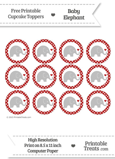 Fire Brick Red Polka Dot Baby Elephant Cupcake Toppers from PrintableTreats.com