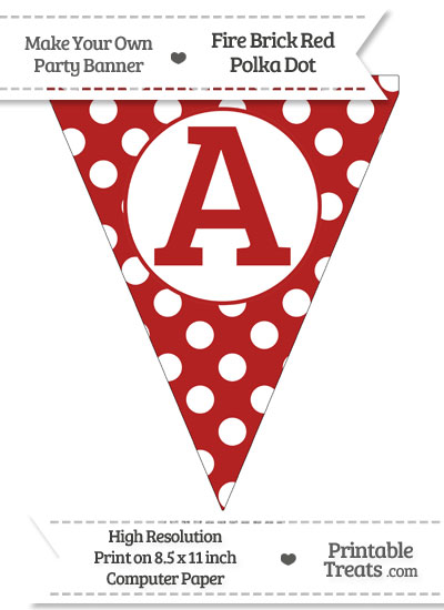 Fire Brick Red Polka Dot Pennant Flag Capital Letter A from PrintableTreats.com