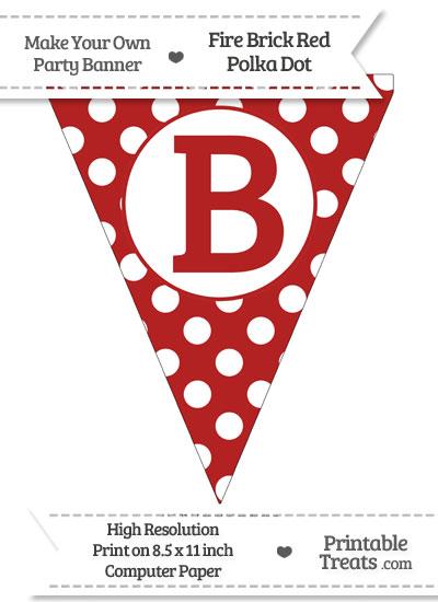 Fire Brick Red Polka Dot Pennant Flag Capital Letter B from PrintableTreats.com