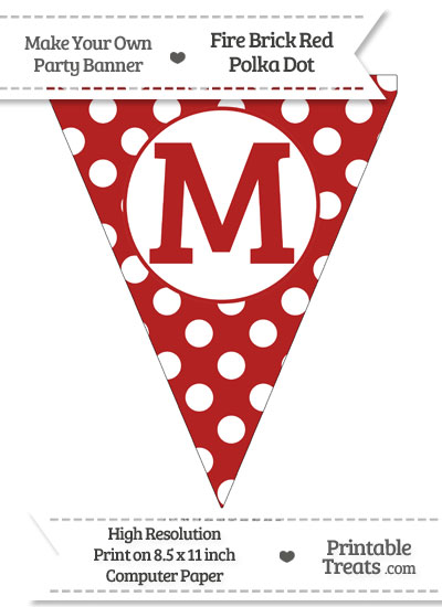 Fire Brick Red Polka Dot Pennant Flag Capital Letter M from PrintableTreats.com