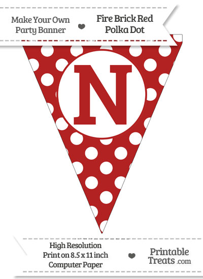 Fire Brick Red Polka Dot Pennant Flag Capital Letter N from PrintableTreats.com