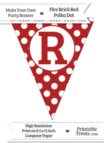 Fire Brick Red Polka Dot Pennant Flag Capital Letter R from PrintableTreats.com