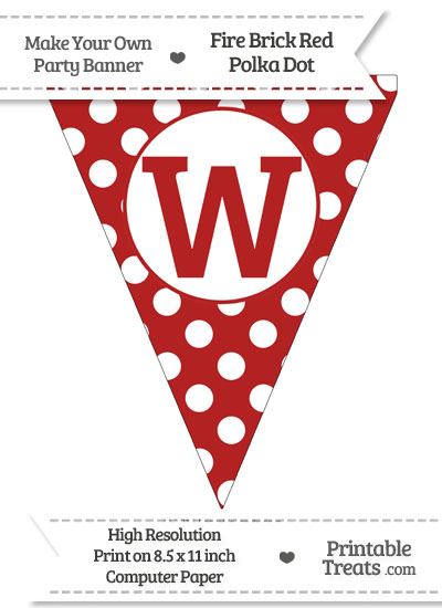 Fire Brick Red Polka Dot Pennant Flag Capital Letter W from PrintableTreats.com