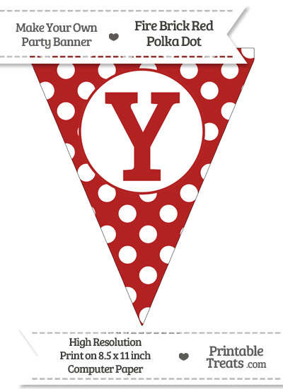 Fire Brick Red Polka Dot Pennant Flag Capital Letter Y from PrintableTreats.com
