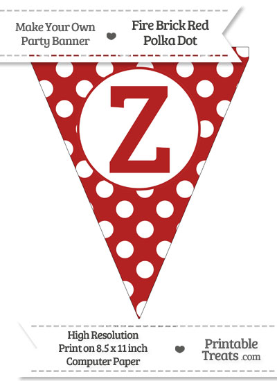 Fire Brick Red Polka Dot Pennant Flag Capital Letter Z from PrintableTreats.com