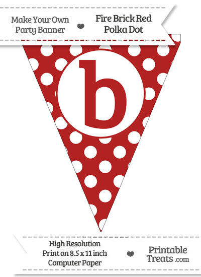 Fire Brick Red Polka Dot Pennant Flag Lowercase Letter B from PrintableTreats.com