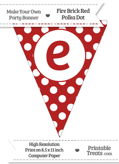 Fire Brick Red Polka Dot Pennant Flag Lowercase Letter E from PrintableTreats.com