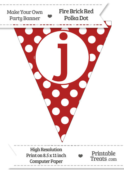 Fire Brick Red Polka Dot Pennant Flag Lowercase Letter J from PrintableTreats.com