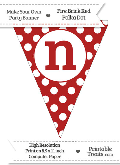 Fire Brick Red Polka Dot Pennant Flag Lowercase Letter N from PrintableTreats.com