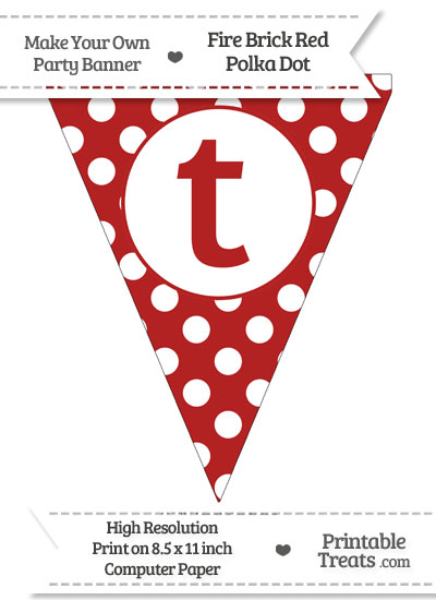 Fire Brick Red Polka Dot Pennant Flag Lowercase Letter T from PrintableTreats.com