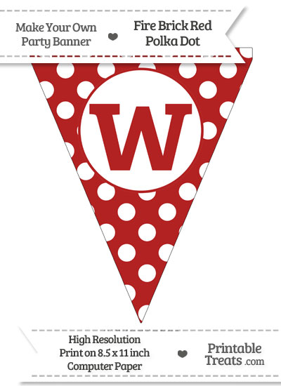 Fire Brick Red Polka Dot Pennant Flag Lowercase Letter W from PrintableTreats.com