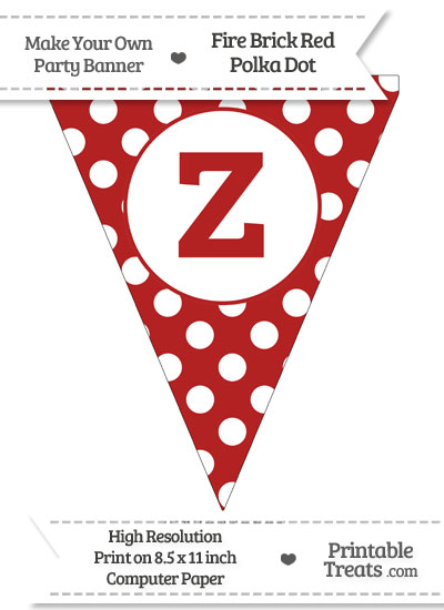 Fire Brick Red Polka Dot Pennant Flag Lowercase Letter Z from PrintableTreats.com